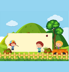 Banner template with kids in the park vector
