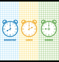 Breakfast lunch and dinner time vector