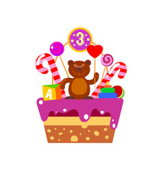 Cake on third birthday vector