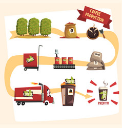 Coffee production in process infographic vector