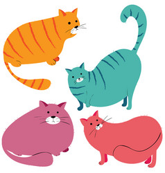 collection of funny fat cats vector image vector image