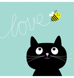 Cute cartoon cat bee dash line love flat design vector