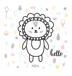 cute hand drawn postcard with funny lion card for vector image vector image