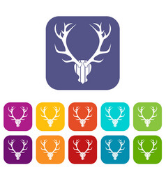 Deer antler icons set vector