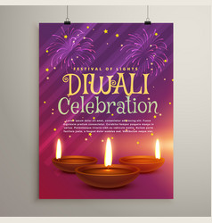 Diwali celebration flyer background with three vector