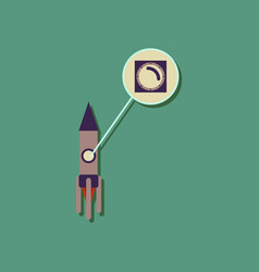 Flat icon design rocket illuminator in sticker vector