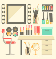 flat makeup workers workplace set mirror vector image vector image