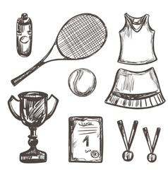 Hand drawn Tennis game set vector image vector image