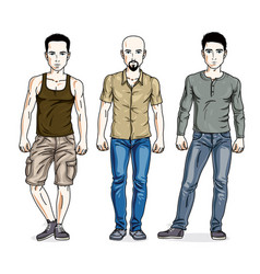 Happy men posing wearing casual clothes people set vector