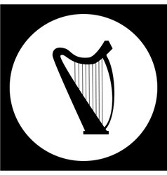 Isolated music harp simple black icon eps10 vector