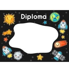 Kawaii space diploma doodles with pretty facial vector