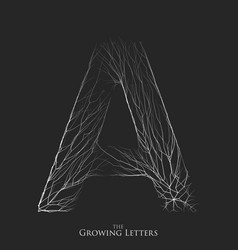 Letter a of branch or cracked alphabet a vector