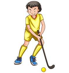 Man in yellow outfit playing hockey vector image