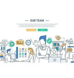 Our team line flat design banner with office vector image vector image