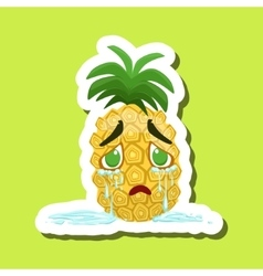 Pineapple crying with tears running down cute vector
