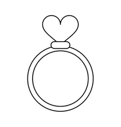 Romance rings love heart wedding symbol outline vector