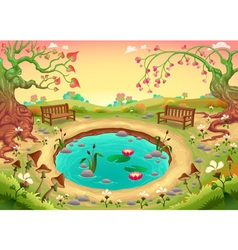 Romantic scene in the park vector image vector image