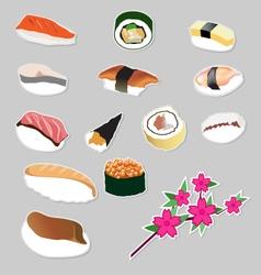 Set icon Japanese food vector image