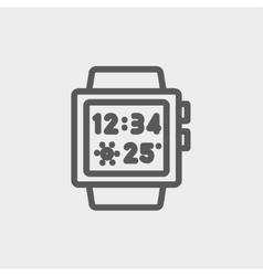 Trendy smart watch thin line icon vector