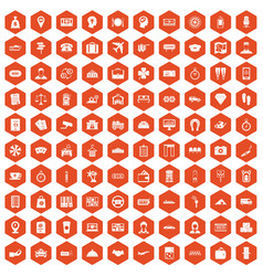 100 paying money icons hexagon orange vector