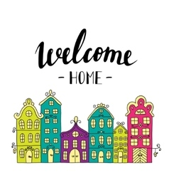 Town building City streets with phrase welcome vector image