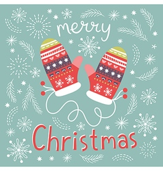 Christmas Mittens greeting Christmas card vector image