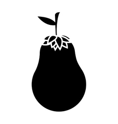 Silhouette monochrome with eggplant vegetable vector