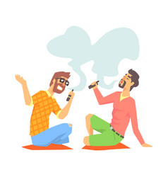 Young hipster guys smoking vaporizers sitting on vector