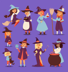 Cute little witch hag harridan vixen with broom vector