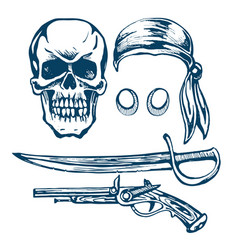 the skull of a pirate vector image
