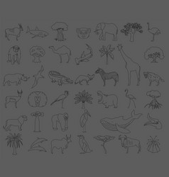 Thin line africa flora and fauna elements animals vector