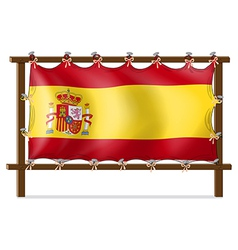 The flag of spain attached to the wooden frame vector