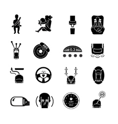 Car safety icons black vector