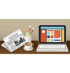 Laptop newspaper coffee cup and stationery object vector