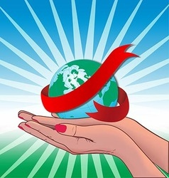 Two hand holding globe world vector