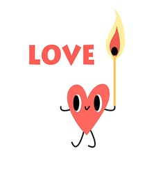 Heart with a lighted match vector