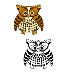 Fluffy owl bird with brown and yellow plumage vector