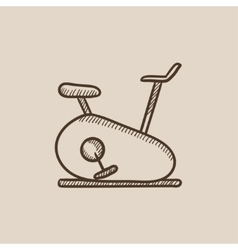 Exercise bike sketch icon vector