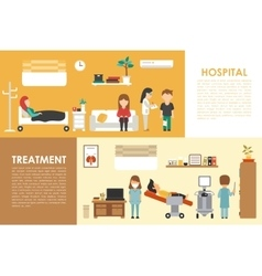 Hospital treatment flat medical hospital interior vector