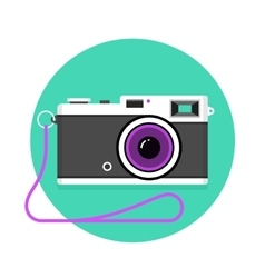 Icon of vintage photo camera black and white vector