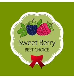 Label with raspberries and blackberry vector