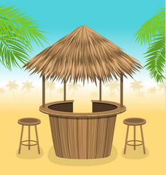 Beach bar thatch outdoor background with lounge vector