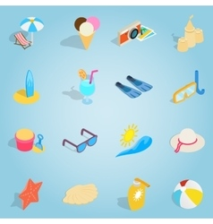 Beach set icons isometric 3d style vector image vector image