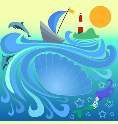 Boat with blue sail among the waves stripe vector