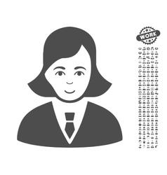 Business lady icon with bonus vector