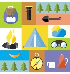 Cartoon Camp Design Nature Outdoor Boho Icon Set vector image