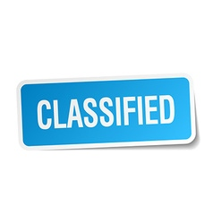 Classified blue square sticker isolated on white vector