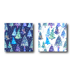 Colorful seamless pattern set with christmas tree vector