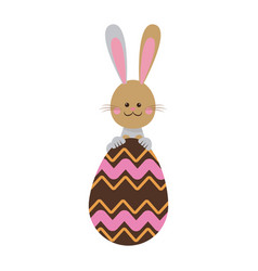 Cute easter bunny with chocolate egg celebration vector