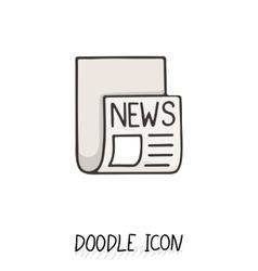 Doodle news icon Newspaper symbol vector image
